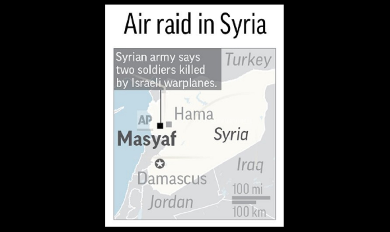 Map locates Israeli air raid in Masyaf, Syria.