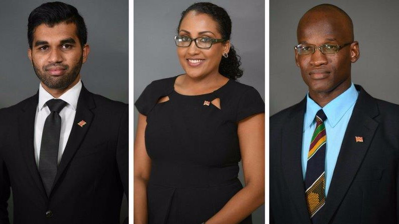 (Photo L-R: Saddam Hosein, Anita Haynes, and Taharqa Obika were appointed as Opposition Senators on Tuesday, September 26, 2017.)