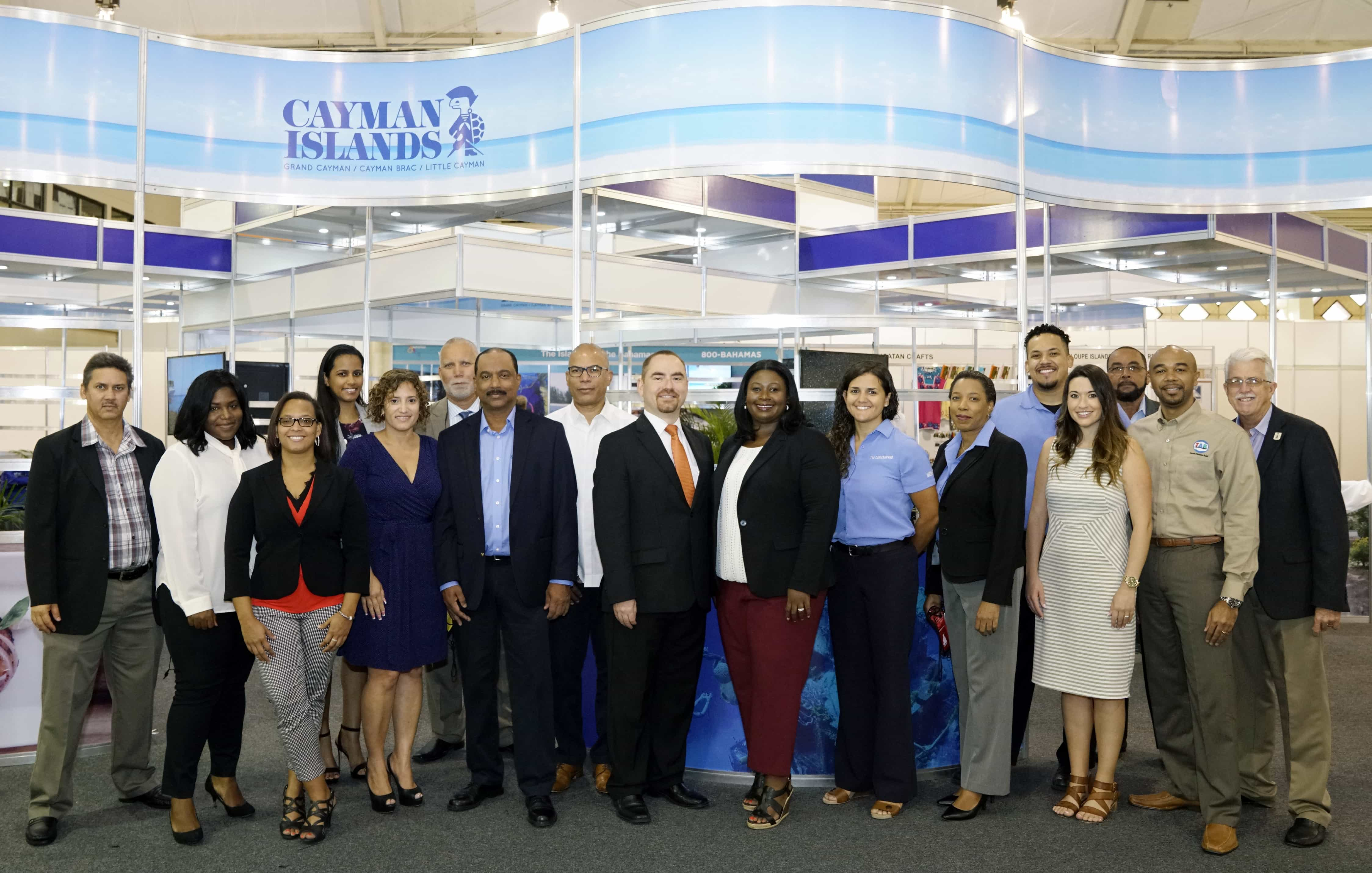(From Left to Right) The Cayman Islands delegates are Joseph Woods, India Narcisse, Melissa Ebanks, Robyn Hera, Doris Jackson, Kenneth Hydes, Raymond Hydes, Port Authority Director Clement Reid, Ministry of Tourism Chief Officer Stran Bodden, Director of Tourism Rosa Harris, Jessica Pawlik, Gail Henry, Eldon Chisholm, Sheyma Romanica, Burns Rankin, Patrick Thompson and Timothy Adam. Not pictured Chris Sorensen and Tracy Seymour