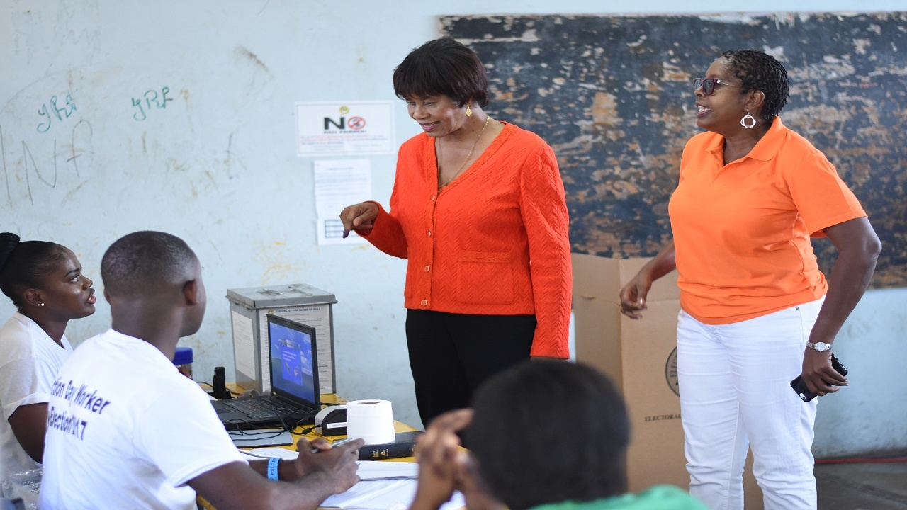PNP candidate for South West St Andrew, Angela Brown Burke (right), with former MP and party leader Portia Simpson Miller. (PHOTOS: Marlon Reid)