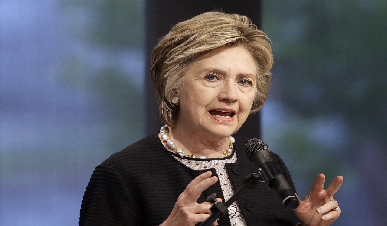 In this June 5, 2017 file photo, former Secretary of State Hillary Clinton speaks in Baltimore.