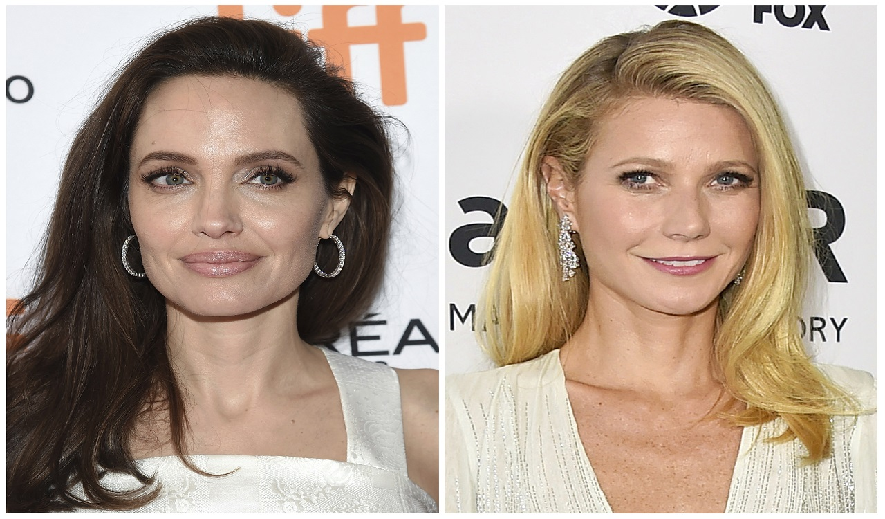 "This combination photo shows actresses Angelina Jolie at a premiere for ""The Breadwinner"" at the Toronto International Film Festival on Sept. 10, 2017, left, and Gwyneth Paltrow arrives at the amfAR Inspiration Gala in Los Angeles on Oct. 29, 2015."