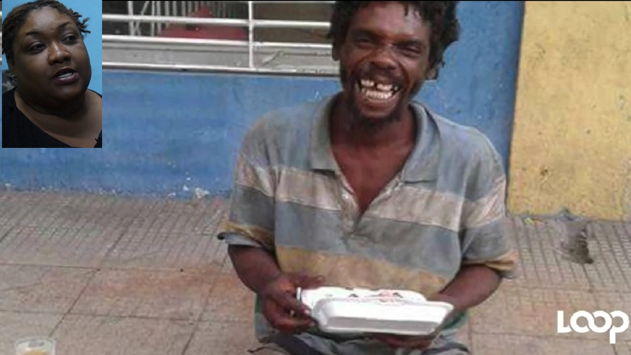 A homeless man is all smiles after receiving a box lunch from Erica Allen and her team. (Inset: Erica Allen)