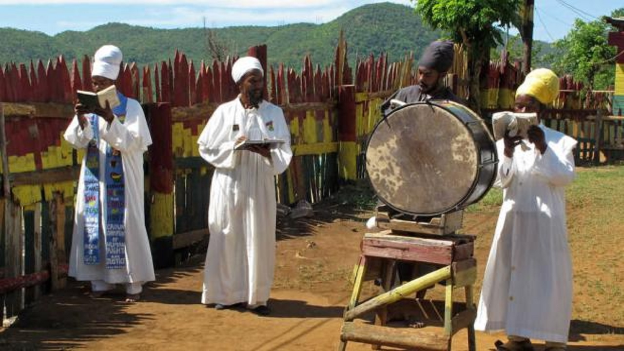 Group of Rastafarians gather for a religious ceremony.