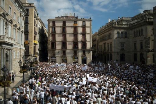 Des manifestants prônant le dialogue à Barcelone le 7 octobre 2017. AFP / Jorge GUERRERO