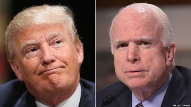 Montage photo entre le président américain, Donald Trump et le sénateur John McCain