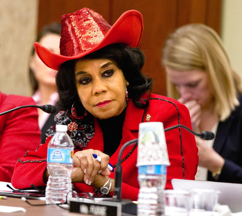"""n this Nov. 18, 2015 file photo, House Education and the Workforce Committee member Rep. Frederica Wilson, D-Fla., attends a conference of House and Senate negotiators try to resolve competing versions of a rewrite to the No Child Left Behind education law, on Capitol Hill in Washington. Wilson says she was in the car with the widow of a slain soldier when she overheard President Donald Trump telling her in a phone conversation that he """"knew what he signed up for."""" (AP Photo/Jacquelyn Martin, File)"""