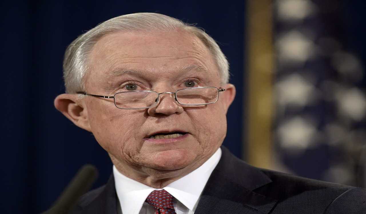In this Sept. 5, 2017 file photo, Attorney General Jeff Sessions makes a statement at the Justice Department in Washington. Sessions said Thursday he is reviving a Bush era crime-fighting strategy that emphasizes aggressive prosecution of gun and gang crimes.