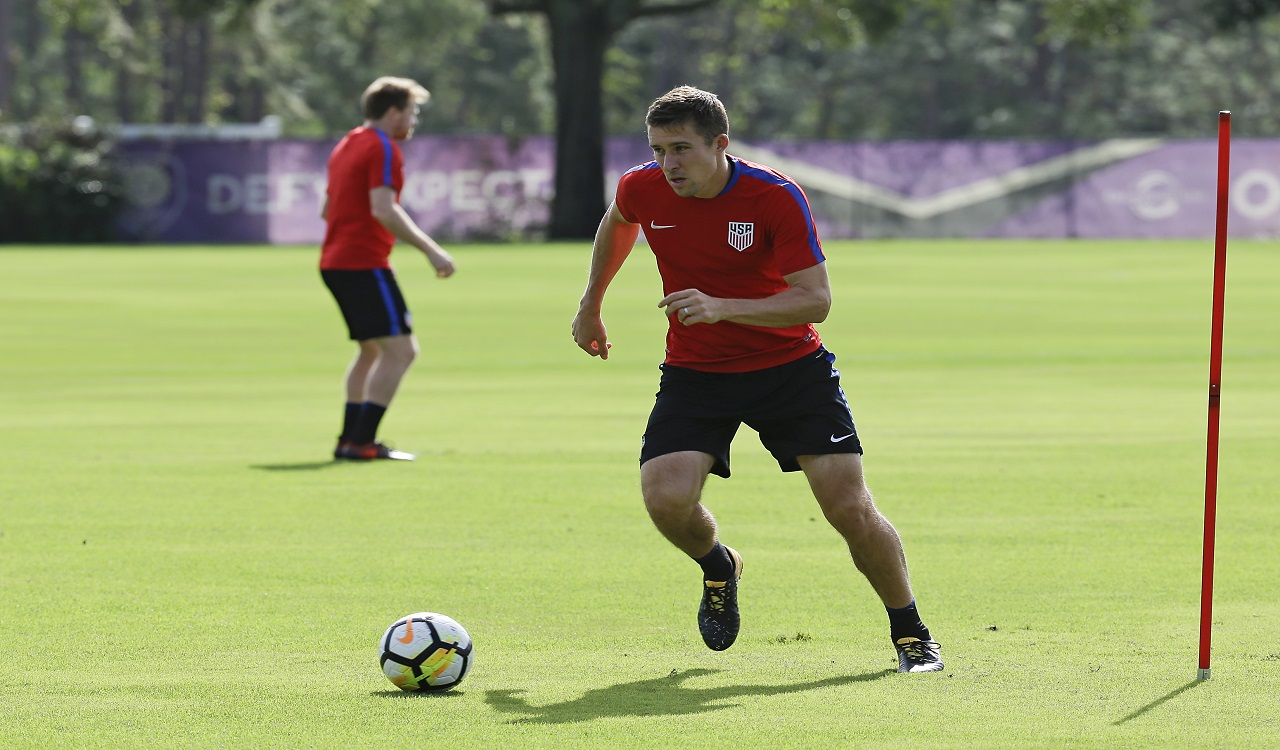 United States defender Matt Besler works on a drill during a football training session, Monday, Oct. 2, 2017, in Sanford, Fla. The United States host Panama in a World Cup qualifying match on Friday, Oct. 6.