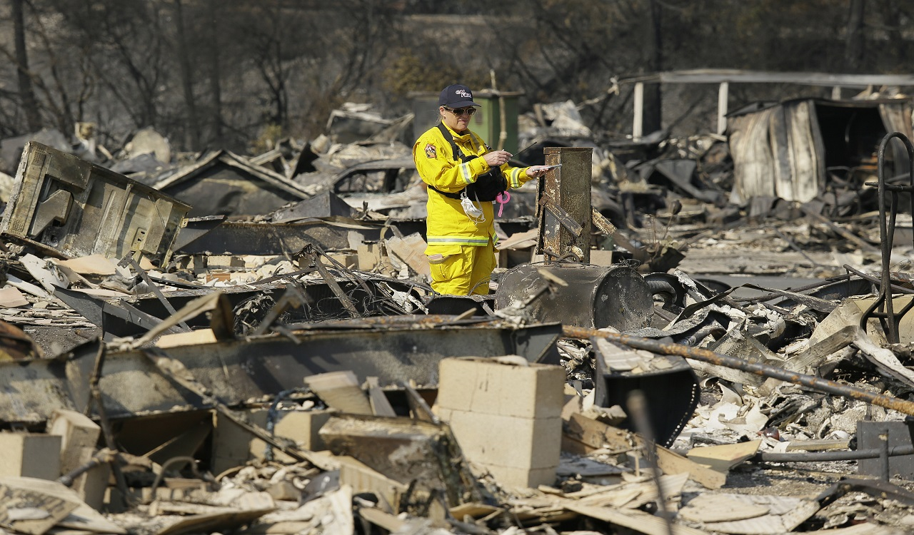 A Cal Fire official looks out at the remains of the Journey's End mobile home park Wednesday, Oct. 11, 2017, in Santa Rosa, Calif. Blazes burning in Northern California have become some of the deadliest in state history.