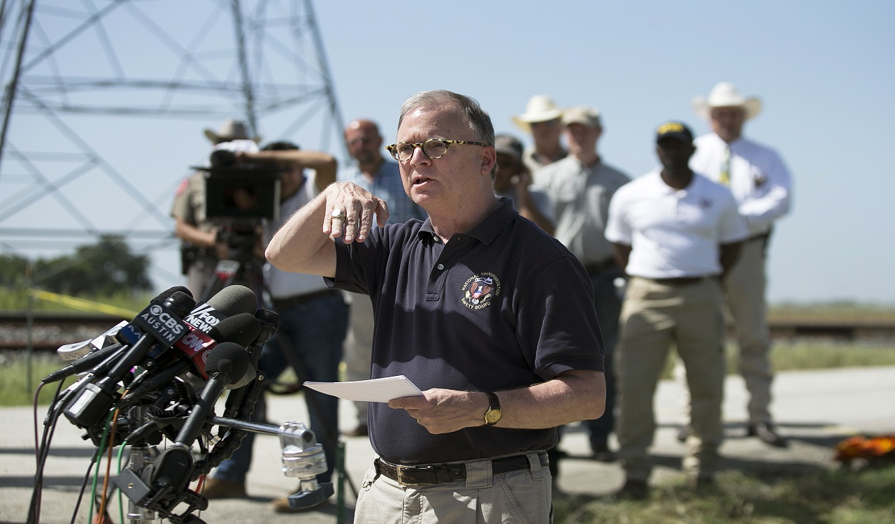 In this Aug. 1, 2016, file photo, National Transportation Safety Board (NTSB) member Robert Sumwalt speaks during a news conference at the scene of the worst hot air balloon crash in U.S. history that killed 16 people in July 2016 near Lockhart, Texas.