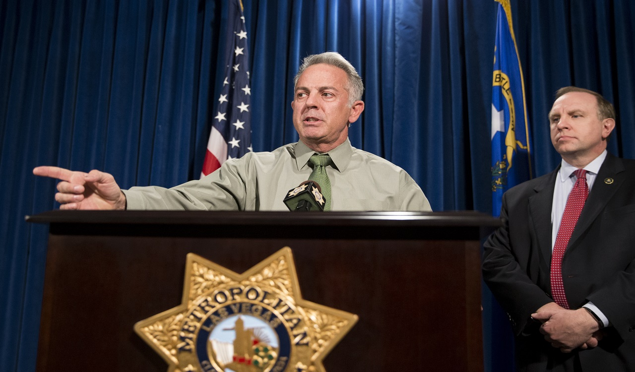 Clark County Sheriff Joe Lombardo, left, with Aaron C. Rouse, special agent in charge for the FBI in Nevada, discusses the Route 91 Harvest festival mass shooting at the Las Vegas Metropolitan Police Department headquarters in Las Vegas, Monday, Oct. 9, 2017.