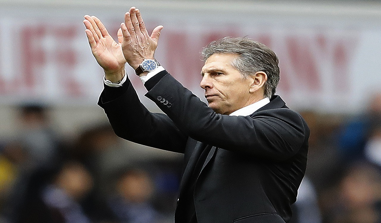 In this Sunday, March 19, 2017 file photo, Southampton team manager Claude Puel applauds supporters after the English Premier League football match against Tottenham Hotspur at White Hart Lane stadium in London.