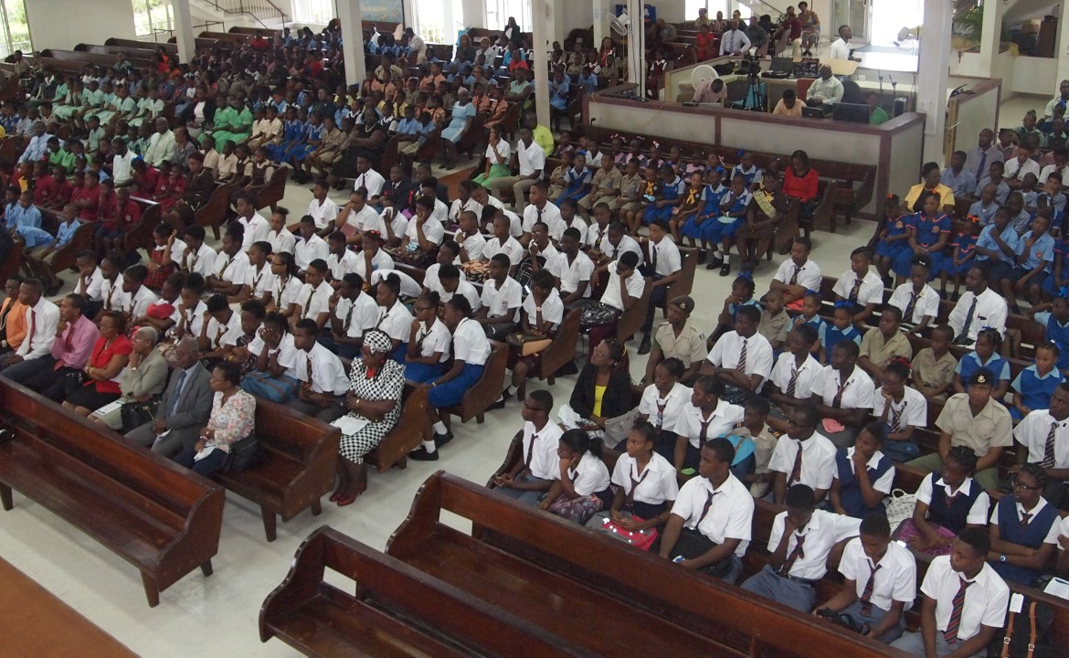 Students from various schools during the church service to mark the start of Education Month.