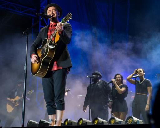 AFP / SUZANNE CORDEIRO  La star de la pop américaine Justin Timberlake, lors d'un concert le 21 octobre 2017 à Austin