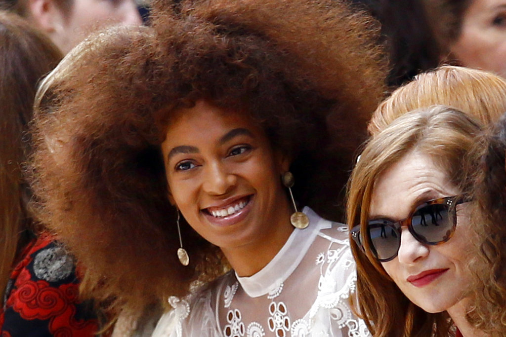 In this Thursday, March 2, 2017 file photo, U.S singer Solange Knowles, left, and french actress Isabelle Huppert, right, look on prior to the show for Chloe's Fall-Winter 2017-2018 ready to wear fashion collection presented in Paris.  (AP Photo/Francois Mori, File)