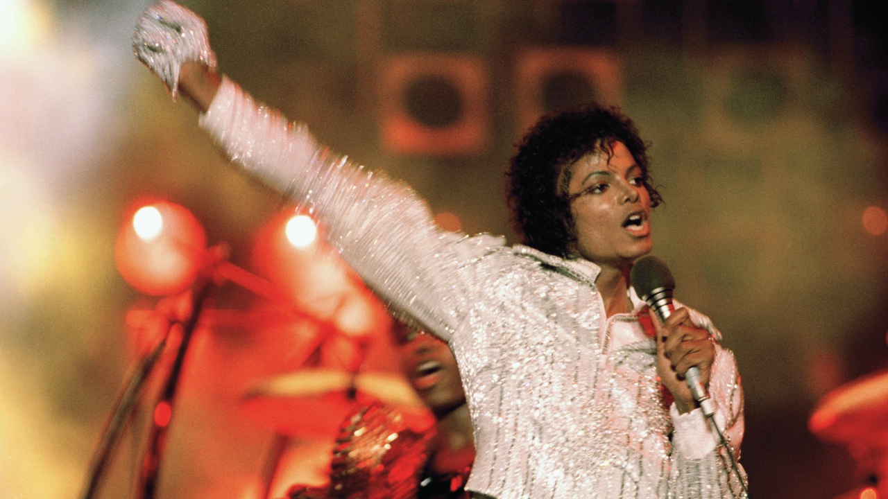 "FILE - In this July 1984 file photo, Michael Jackson performs during the ""Victory Tour."""