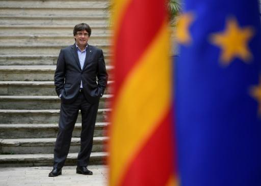 AFP/Archives / PIERRE-PHILIPPE MARCOU Le président catalan Carles Puigdemont, le 30 septembre 2017 à Gérone