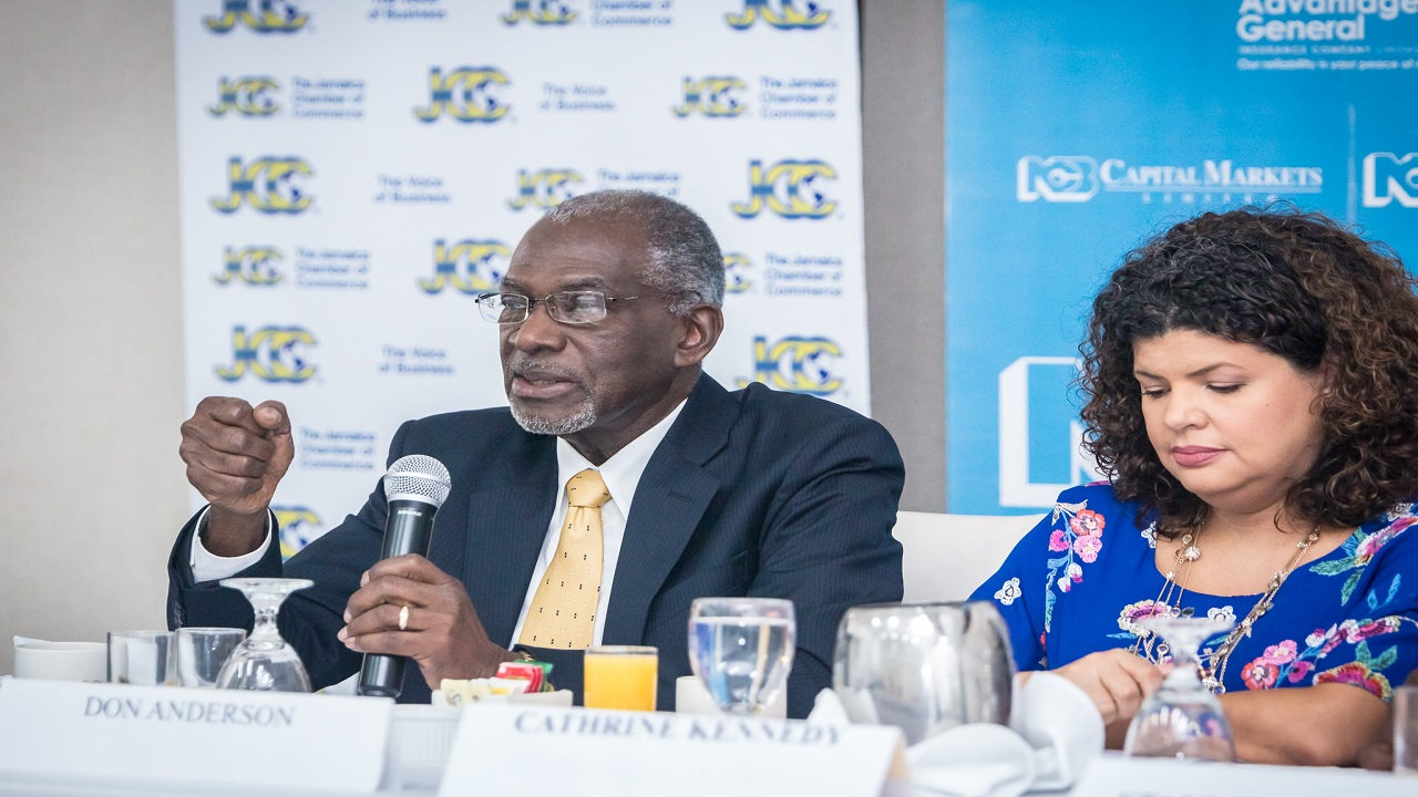 Pollster Don Anderson (left) reveals the findings of the latest survey of business and consumer confidence. Also pictured is Cathrine Kennedy (right), 1st Vice President of the Jamaica chamber of Commerce.