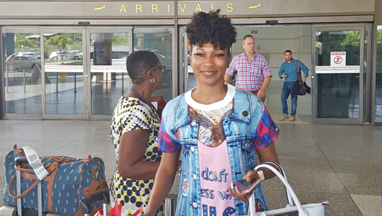 Trinidadian soca star, Patrice Roberts, arrives in Barbados on Friday morning.