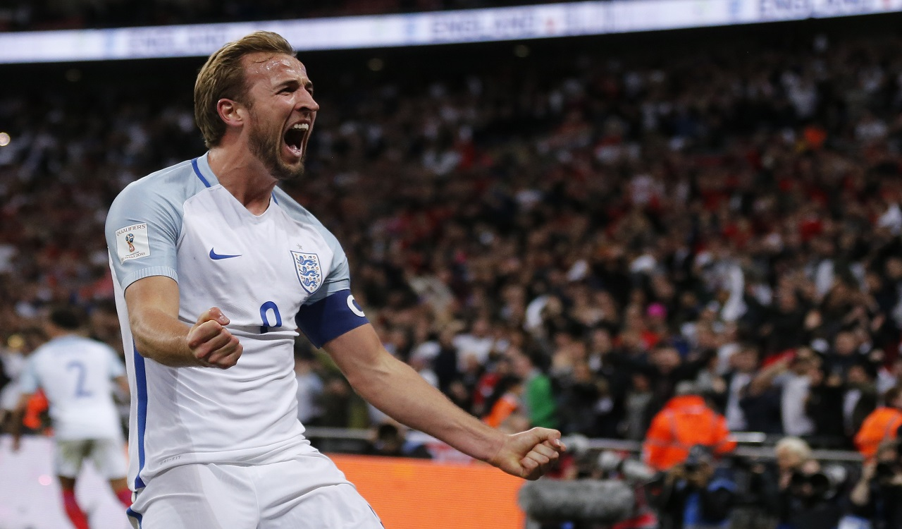 England's Harry Kane celebrates after scoring the opening goal for his team during the World Cup Group F qualifying match against Slovenia at Wembley stadium in London, Thursday, Oct. 5, 2017. England won 1-0.