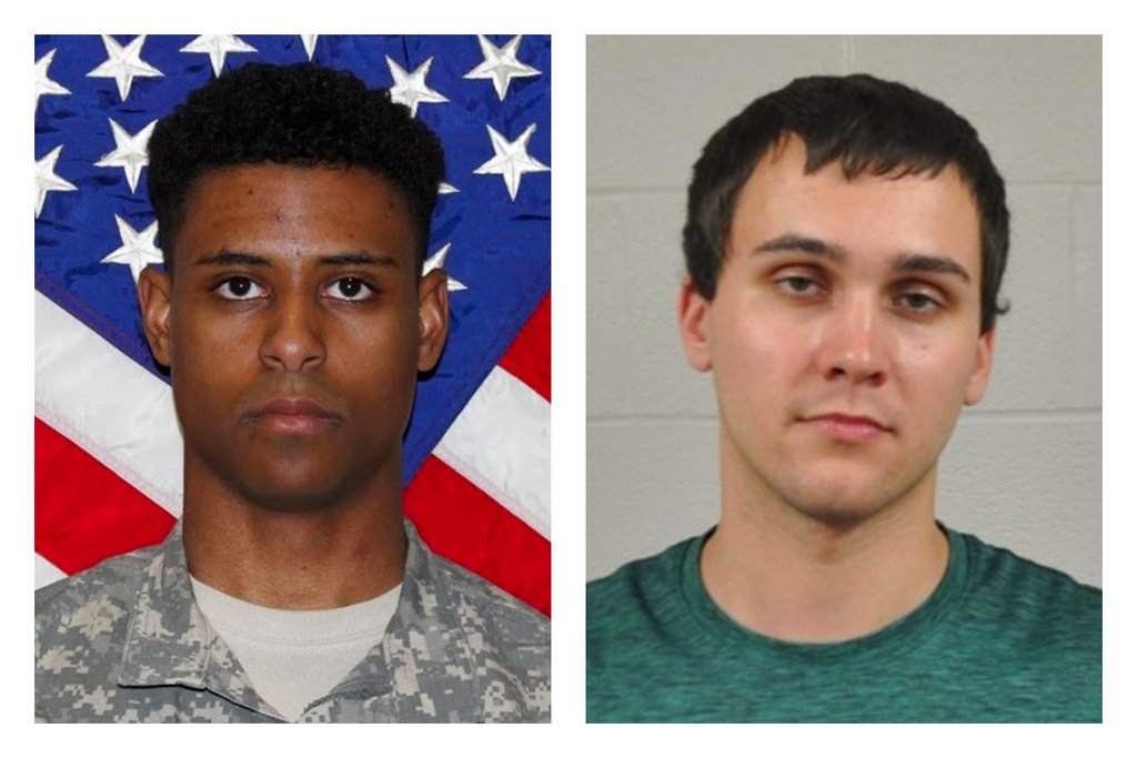 "This combination of photos provided by the U.S. Army and the University of Maryland Police Department shows Richard Collins III, right, and Sean Urbanski. On Tuesday, Oct. 17, 2017, Urbanski was indicted on a hate crime charge for allegedly stabbing Collins to death ""because of his race,"" a Maryland prosecutor said. (U.S. Army, University of Maryland Police Department via AP)"
