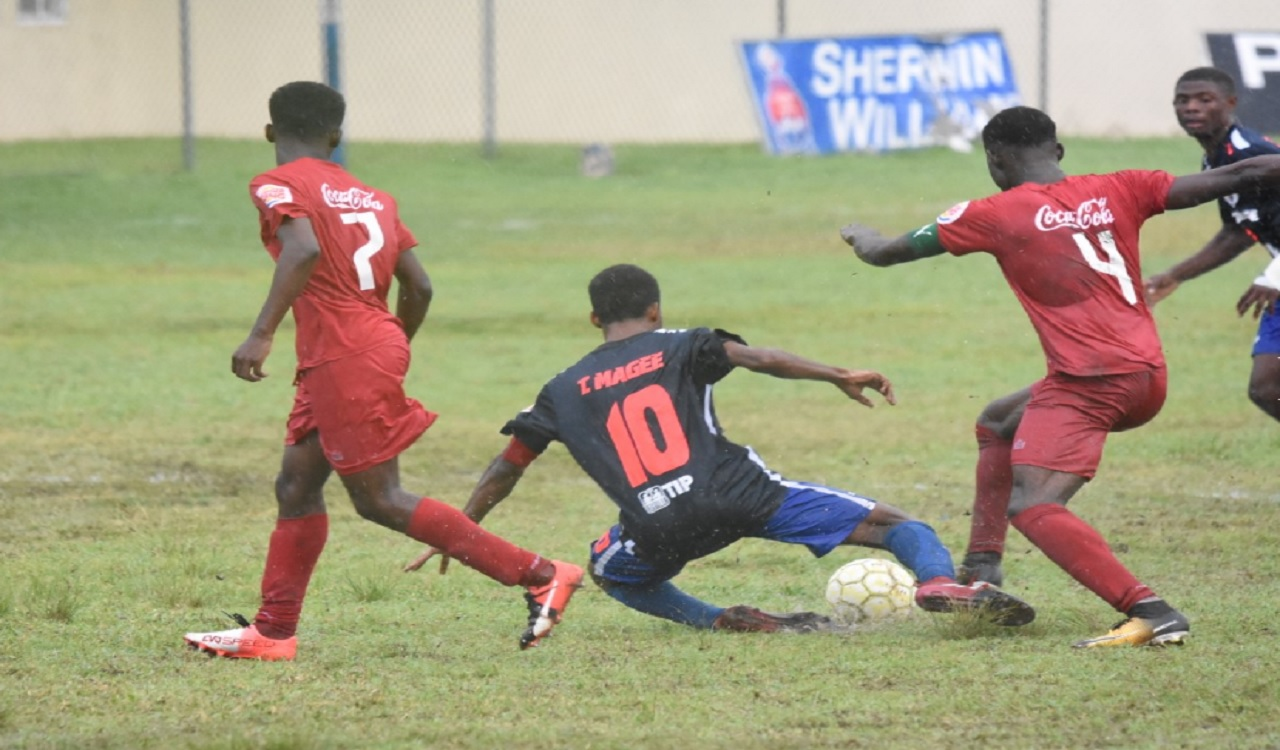 Action from the ISSA/FLOW Group B Manning Cup game between hosts Jamaica College (JC) and Bridgeport High on Monday. The game ended in a 2-2 draw.