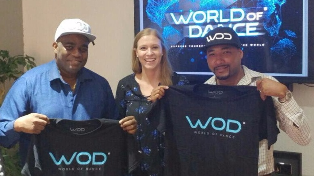 Hans Romany and Kyle Lequay franchise holders for Jamaica and T&T with Chelsea Gray International License Director for World of Dance