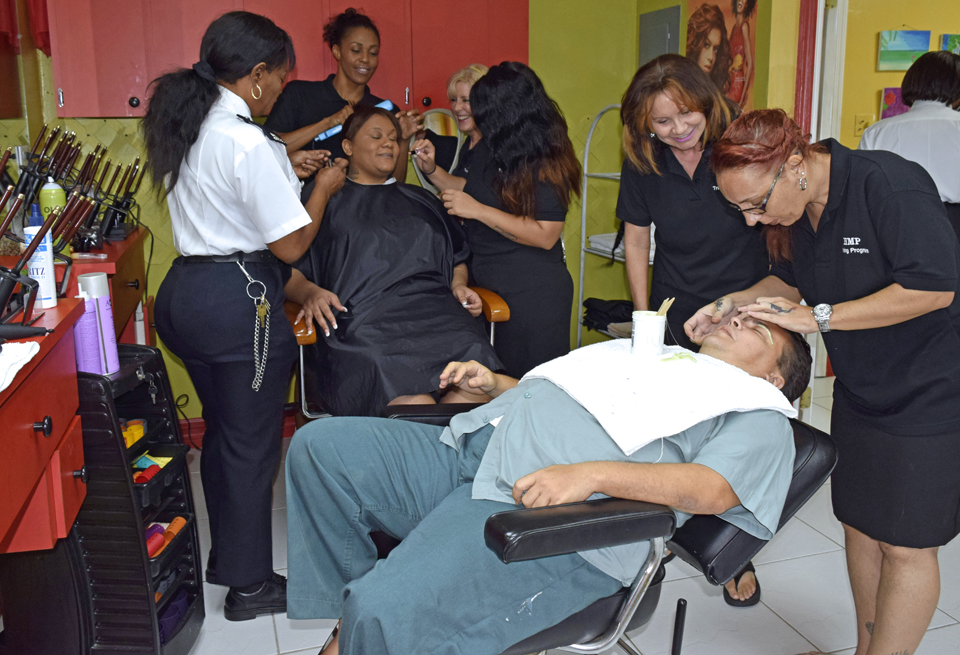 HMP Fairbanks inmates at work in salon