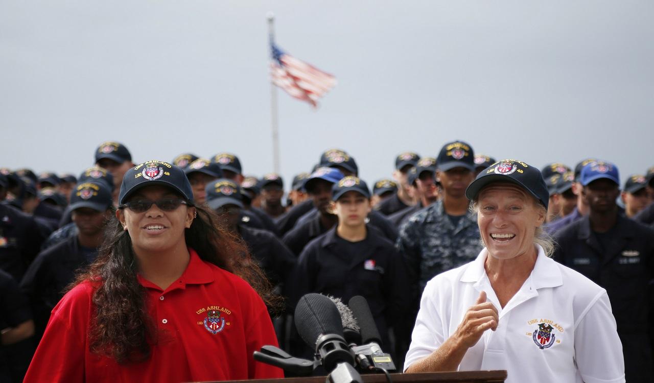 Jennifer Appel, right, and Tasha Fuiava speak on the deck of the USS Ashland at White Beach Naval Facility in Okinawa, Japan Monday, Oct. 30, 2017.