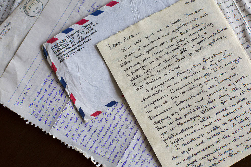 This image provided by Emory University shows letters sent by future President Barack Obama to his college girlfriend Alexandra McNear and held by Emory University's Stuart A. Rose Manuscript, Archives and Rare Book Library in Atlanta. The university is making the letters available to researchers on Oct. 19, 2017. (Ann Borden/Emory University via AP)