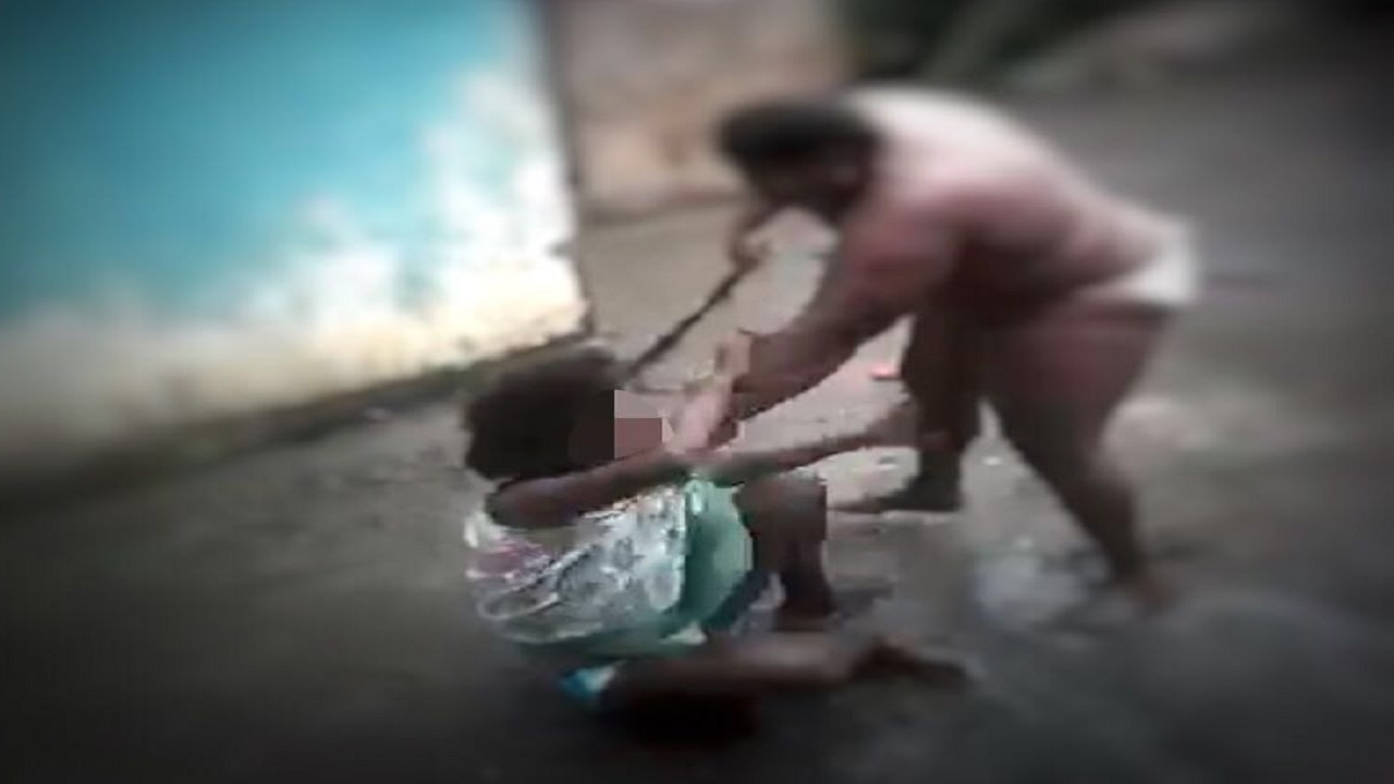 Screenshot of the viral video showing a mother beating her child in St Thomas.