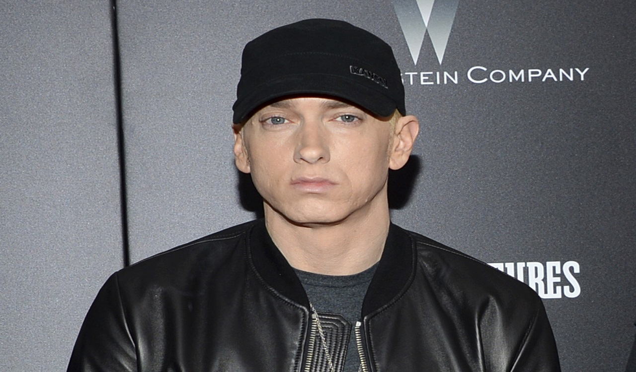 "In this July 20, 2015, file photo, Eminem attends the premiere of ""Southpaw"" in New York. Eminem has released a verbal tirade on President Donald Trump in a video that aired as part of the BET Hip Hop Awards on Oct. 10, 2017."