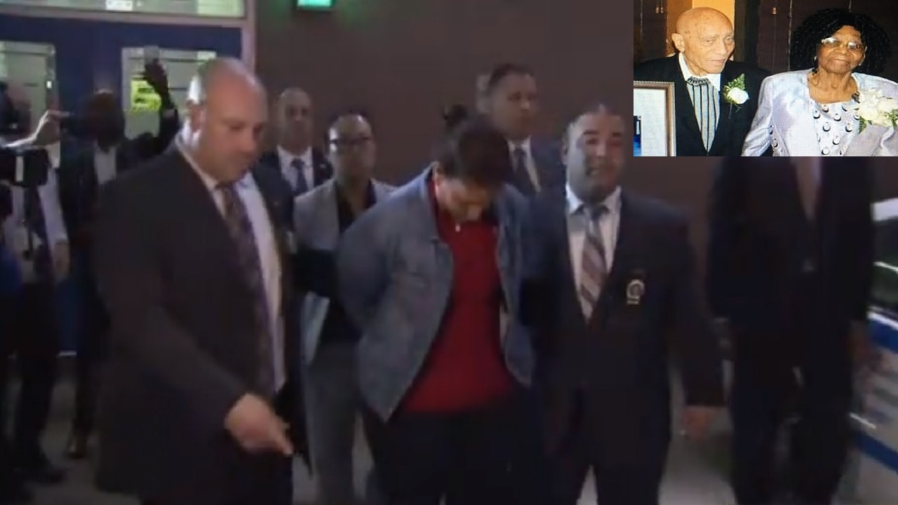 Screenshot of video showing 45-year-old murder suspect  Suzette Troutman being escorted by New York police on Monday. (INSET: Waldiman and Ethlin Thompson)