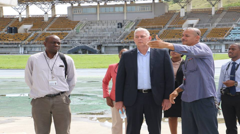 Prime Minister Allen Chastanet touring St Jude Hospital at the George Odlum Stadium earlier this year.