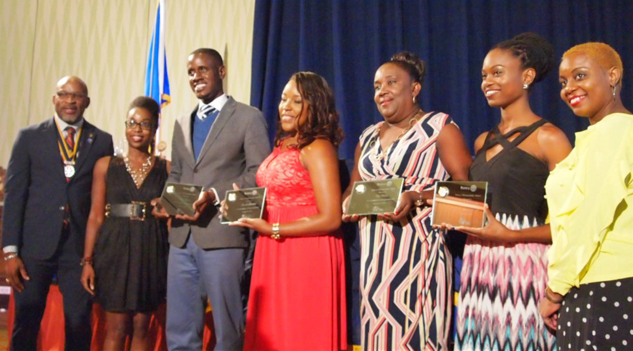 (L-R) President of the Rotary Club of Barbados, Paul Ashby; feature speaker Krystle Howell; and recipients of Workmanship Awards: Dale Trotman, Shareka Bentham, representative for Troy Weekes and Kamille Martindale along with the Rotary Club representative, Tracy Knight-Lloyd.