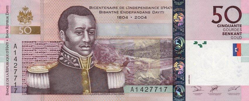 Les  billets de 50 gourdes à l'effigie du Général Capois La Mort