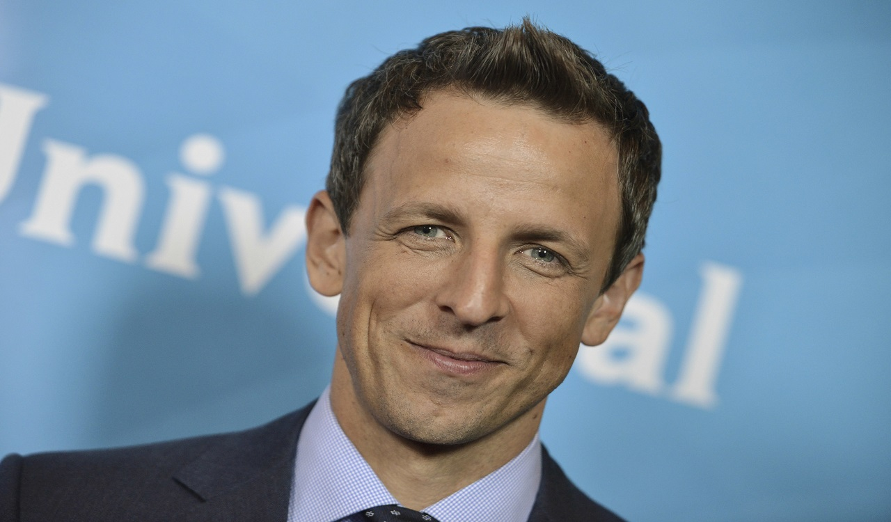 "This July 13, 2014 file photo shows Seth Meyers in Beverly Hills, Calif. On Saturday, Oct. 7, 2017, Myers, who has been among the most vocal critics of President Donald Trump, tweeted that he'd ""love"" to have Trump on his NBC show, in response to one of his messages."