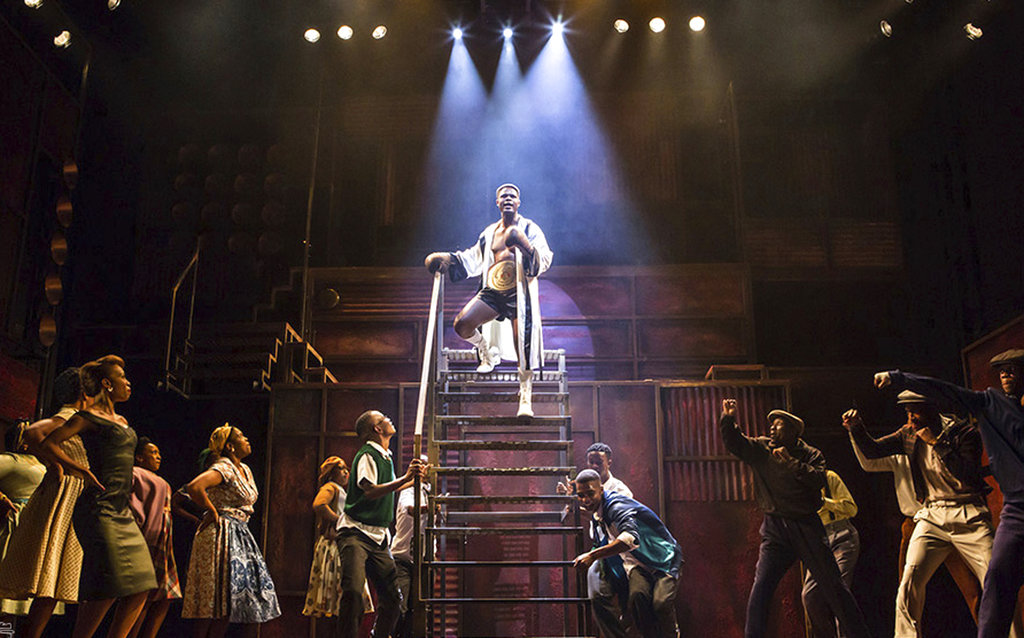 "In this photo provided by the Fugard Theatre taken on Monday, Oct. 2, 2017 the cast perform in a production of ""King Kong"" in Johannesburg. The rise and fall of a black South African boxer known as ""King Kong"" inspired a 1959 musical whose black cast performed for multi-racial audiences, testing the apartheid system of that era and attracting Nelson Mandela to its opening night.  (Daniel Rutland Manners/ Fugard Theatre via AP)"