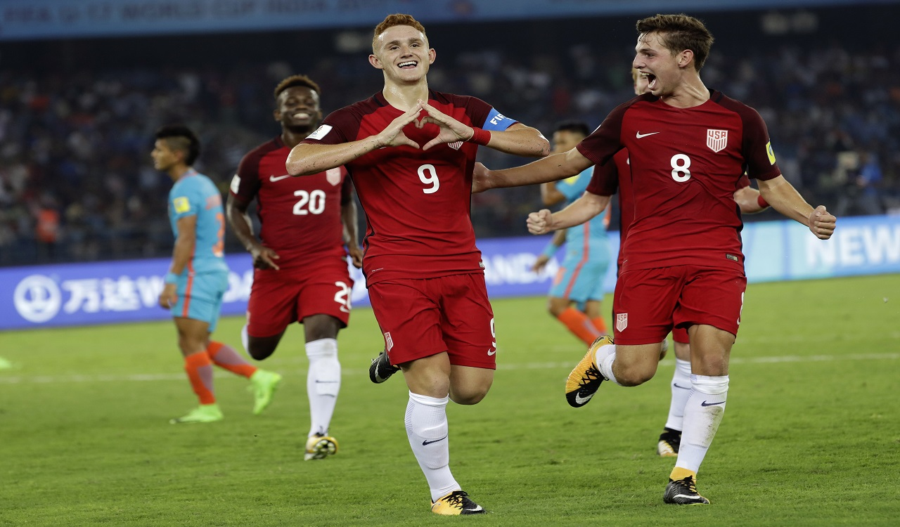 USA players celebrate a goal against India during their FIFA U-17 World Cup match in New Delhi, India, Friday, Oct. 6, 2017.