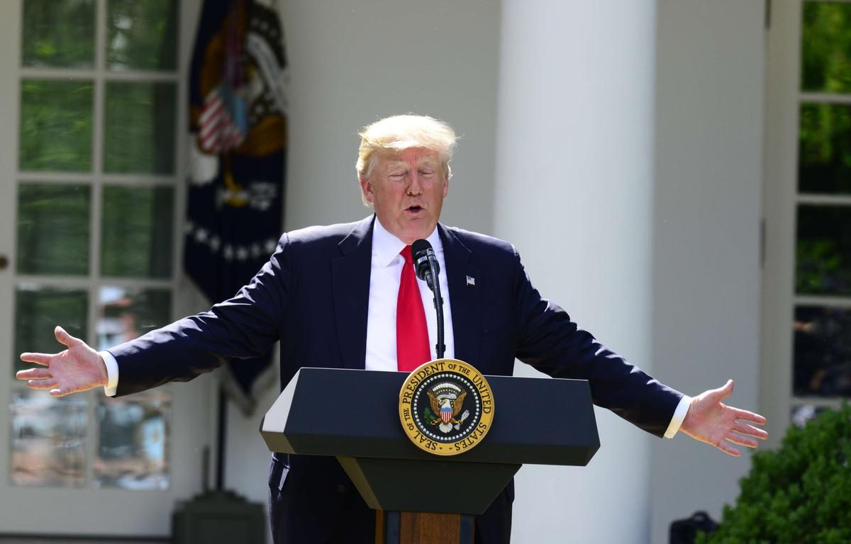Trump omschreef de Noord-Koreaanse leider Kim Jong-un als een ,,raketman'' op een ,,zelfmoordmissie''.