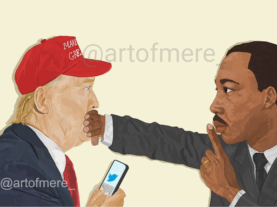 La toile anti-Trump de Watson Mere, artiste visuel américain originaire d'Haiti./Source: compte officiel Tweeter de l'artiste