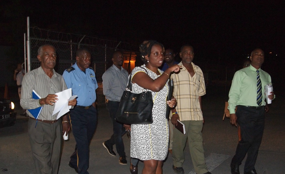 Members of the Barbados Workers Union (BWU) exiting negotiations with the Board of Management of the Caribbean Broadcasting Corporation (CBC) on Wednesday night. Leading the group is BWU General Secretary, Toni Moore (3rd from right).