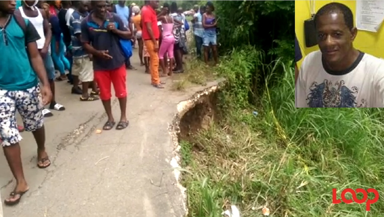 Residents observe the breakaway at a section of the roadway in Riversdale, St Catherine. (Inset: Sergeant Mervin Ellington)