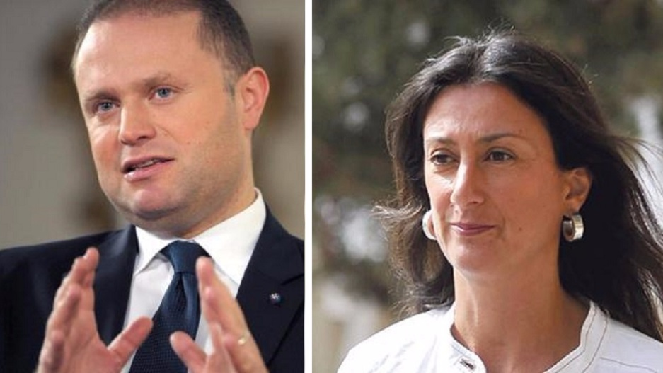 Malta's Prime Minister Joseph Muscat (L), and investigative reporter Daphne Caruana Galizia who was killed in a car bomb (R).