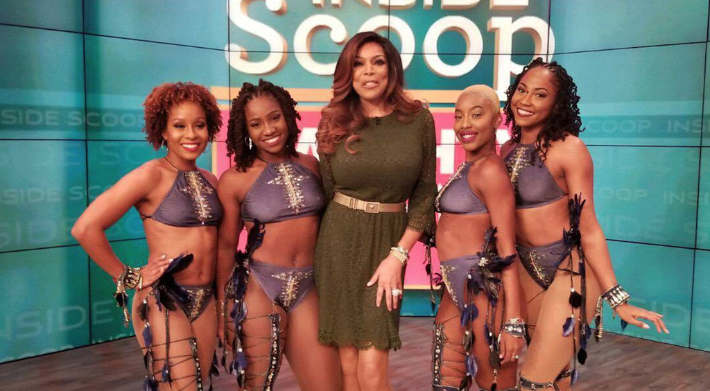 US talk show host Wendy Williams (centre) and Riddim Tribe dancers, including Creative Director Aisha Comissiong (right) on the set of her show for October 23, 2017.
