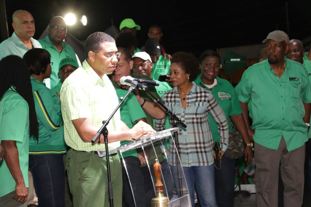 Prime Minister Andrew Holness speaks at a mass JLP meeting in Annotto Bay on Sunday. (Photo: Llewellyn Wynter)