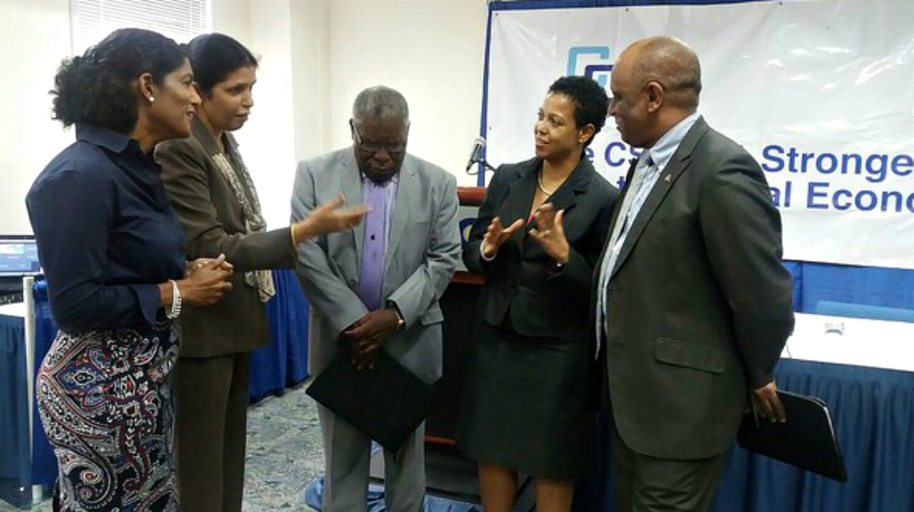 (From left) Barbados Labour Minister Dr. Esther Byer Suckoo; CARICOM Deputy Secretary-General Ambassador Manorma Soeknandan; Barbados Ambassador to CARICOM Robert Morris; Ms Gladys Young, CARICOM Secretariat; EU Representative Stephen Boyce. (PHOTO: Caricom)