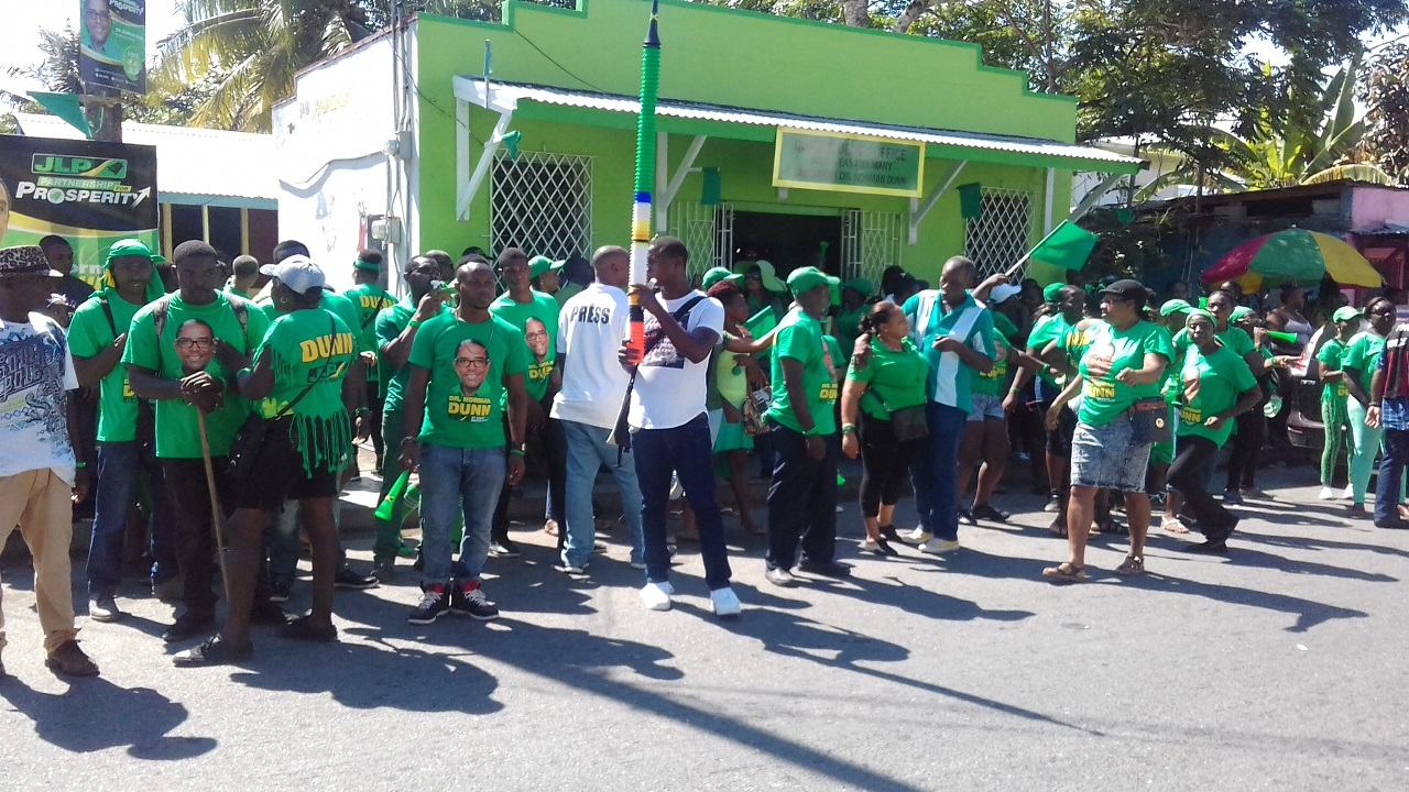 JLP supporters out in numbers at the constituency office in Annotto Bay on Monday.