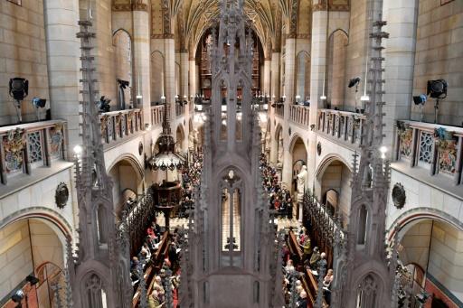 AFP / John MACDOUGALL  Célébration du 500e anniversaire de la Réforme en Allemagne dans l'Eglise de la Toussaint à Wittenberg, berceau du protestantisme, le 31 octobre 2017
